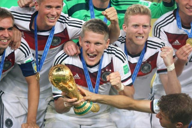 Germany celebrate with the World Cup trophy in 2014