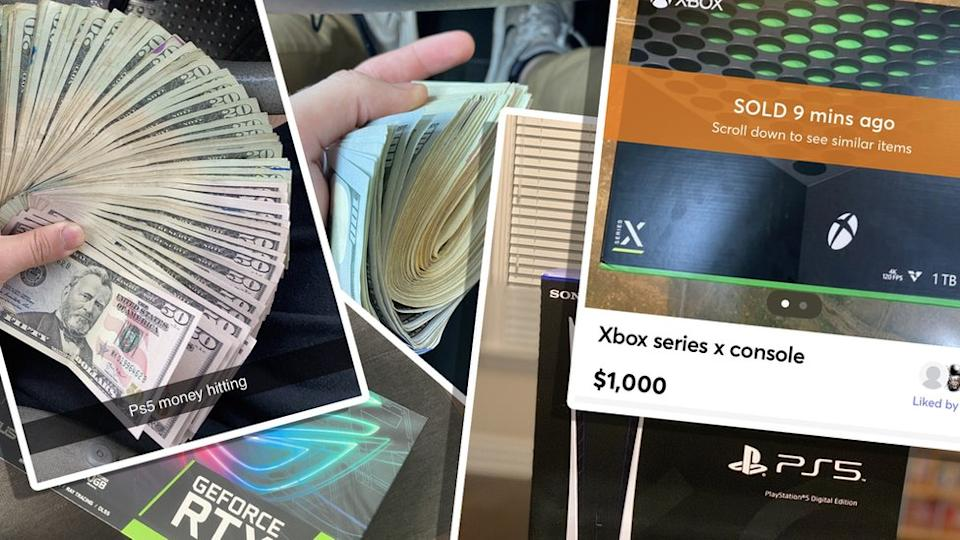 Photos of people holding large stacks of $20 and $100 bills, alongside photos of PlayStation and Xbox consoles, are shown here compiled into an illustration so they look like printed photographs scattered on a tabletop