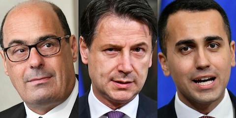 Italian Democratic Party Nicola Zingaretti, Prime Minister Giuseppe Conte and Industry Minister and deputy PM Luigi Di Maio - Credit:  VINCENZO PINTO/ AFP