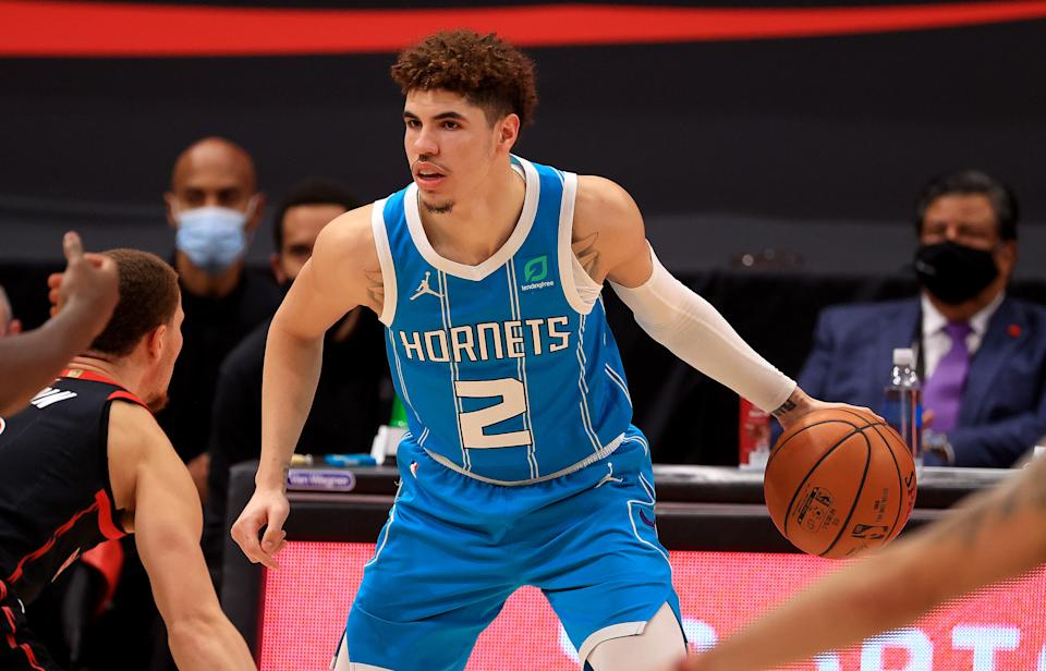 LaMelo Ball #2 of the Charlotte Hornets looks to pass during a game against the Toronto Raptors at Amalie Arena on January 16, 2021 in Tampa, Florida.