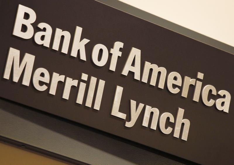 Company logo of the Bank of America and Merrill Lynch is displayed at its office in Hong Kong