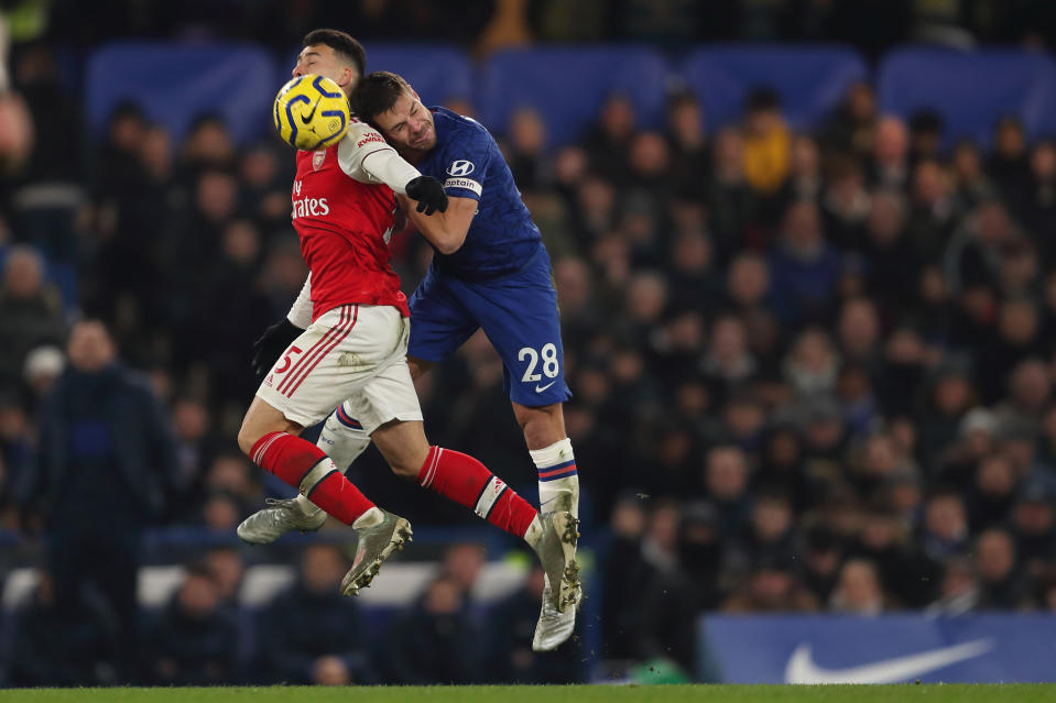 Gabriel Martinelli (5) and Cesar Azpilicueta both scored goals in Arsenal and Chelsea's wild draw at Stamford Bridge. (Photo by James Williamson - AMA/Getty Images)