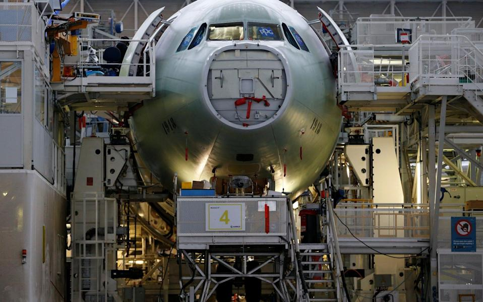 An Airbus A330neo is pictured on its final assembly line at Airbus headquarters in Colomiers, near Toulouse, France - REGIS DUVIGNAU /Reuters