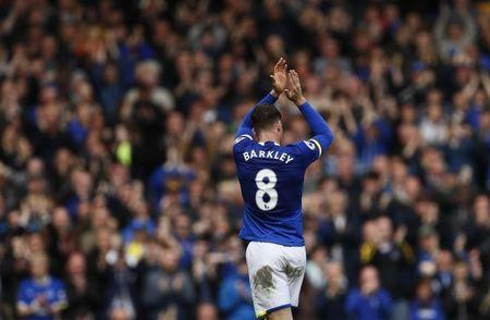 Everton's Ross Barkley applauds fans as he walks off to be substituted
