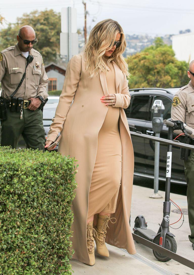 <p>Khloé Kardashian kept her bump covered in a monochromatic look while pregnant with her daughter, True Thompson.</p>