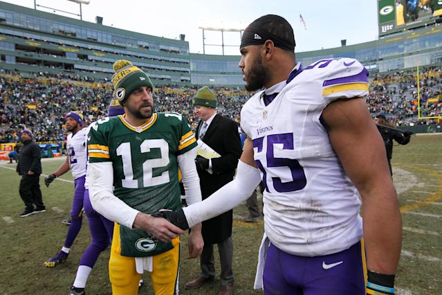 Aaron Rodgers e Anthony Barr (Dylan Buell/Getty Images)