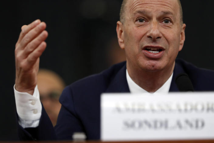 Gordon Sondland, U.S. ambassador to the European Union, testifies before the House Intelligence Committee on Wednesday. (Photo: Andrew Harnik/AP)