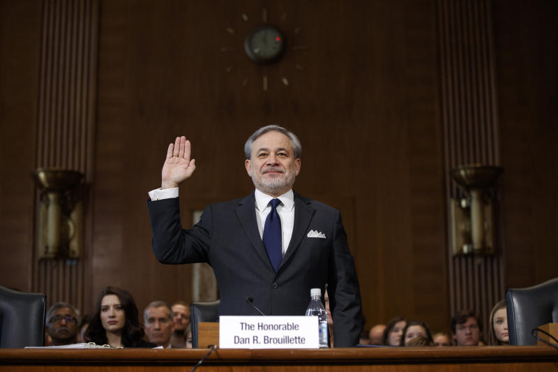 Secretary of Energy nominee Dan Brouillette is sworn for a hearing on his nomination, Thursday, Nov. 14, 2019, on Capitol Hill in Washington. (AP Photo/Jacquelyn Martin)