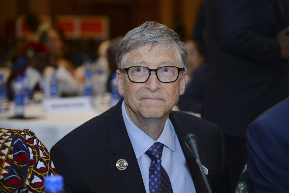 """Bill Gates, chairman of the Bill & Melinda Gates Foundation, attends the """"Africa Leadership Meeting - Investing in Health Outcomes"""" held at a hotel in Addis Ababa, Ethiopia Saturday, Feb. 9, 2019. The meeting, which took place ahead of the 32nd African Union Summit, was """"to launch a new initiative designed to help deliver increased, sustained and more impactful financing for health across Africa"""", according to the African Union. (AP Photo/Samuel Habtab)"""