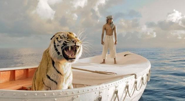 """""""Life of Pi"""" — Ang Lee's visually spectacular 3D castaway tale is based on Canadian author Yann Martel's 2001 novel of the same name. The film (due out Nov. 23) stars newcomer Suraj Sharma as Pi, a teenager whose ship (carrying a zoo full of animals) sinks en route from India to Canada. As if things couldn't get worse for Pi, he and a fully grown Bengal tiger are the only survivors of the wreck, and the two spend months adrift at sea in an uneasy standoff. The film is narrated by Bollywood star Irrfan Khan, who plays an adult version of Pi."""