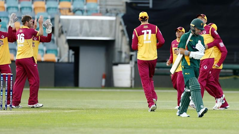 Tasmania opener Caleb Jewell was the first to fall in the one day cup match against Queensland