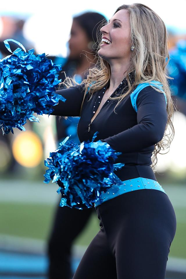 <p>Carolina Panthers Topcats Cheerleader during the second half on December 20, 2017 between the Minnesota Vikings and the Carolina Panthers at Bank of America Stadium in Charlotte, NC. (Photo by Jim Dedmon/Icon Sportswire) </p>