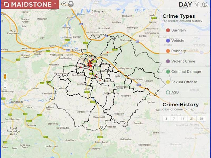 A screenshot of the predictive crime hotspot mapping used by Kent Police