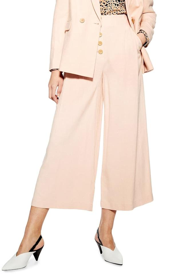 """<p>These pastel pink <a href=""""https://www.popsugar.com/buy/Topshop%20Coco%20Cropped%20Wide%20Leg%20Trousers-471302?p_name=Topshop%20Coco%20Cropped%20Wide%20Leg%20Trousers&retailer=shop.nordstrom.com&price=34&evar1=fab%3Auk&evar9=46411415&evar98=https%3A%2F%2Fwww.popsugar.com%2Ffashion%2Fphoto-gallery%2F46411415%2Fimage%2F46411531%2FTopshop-Coco-Cropped-Wide-Leg-Trousers&list1=shopping%2Cpants%2Csummer%2Csummer%20fashion&prop13=api&pdata=1"""" rel=""""nofollow"""" data-shoppable-link=""""1"""" target=""""_blank"""" class=""""ga-track"""" data-ga-category=""""Related"""" data-ga-label=""""https://shop.nordstrom.com/s/topshop-coco-cropped-wide-leg-trousers/5263289?origin=keywordsearch-personalizedsort&amp;breadcrumb=Home%2FAll%20Results%2FWomen%27s%20Clothing&amp;color=bright%20green"""" data-ga-action=""""In-Line Links"""">Topshop Coco Cropped Wide Leg Trousers </a> ($34) also come in a cool lime green shade.</p>"""
