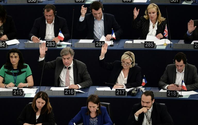 "Far-right presidential candidate Marine Le Pen, pictured at the European parliament in Strasbourg (2nd row 2nd R), has dismissed the inquiry as a ""political"" attempt to derail her presidential bid"