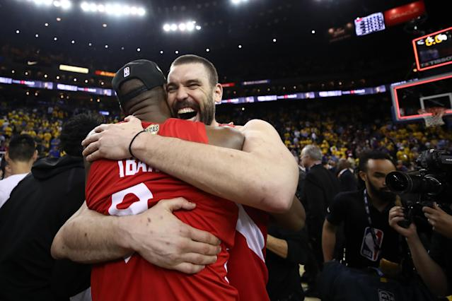 Serge Ibaka #9 and Marc Gasol #33 of the Toronto Raptors celebrates their teams victory over the Golden State Warriors in Game Six to win the 2019 NBA Finals at ORACLE Arena on June 13, 2019 in Oakland, California. (Photo by Ezra Shaw/Getty Images)