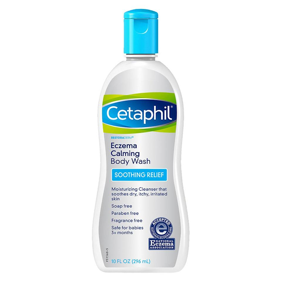 """<p>Another eczema-fighting pick from Shah, Cetaphil's Restoraderm Pro Eczema Calming Body Wash contains skin-nourishing shea butter, sunflower oil, and glycerin, and is completely free of soaps, fragrances, parabens, and phthalates, as well as any other known nasties. Shah recommends it for eczema sufferers as its lightweight, non-irritating, and removes dead skin without stripping the epidermis of its natural oils.</p> <p><strong>$20</strong> (<a href=""""https://www.cvs.com/shop/cetaphil-eczema-calming-body-wash-10-oz-prodid-1013036"""" rel=""""nofollow noopener"""" target=""""_blank"""" data-ylk=""""slk:Shop Now"""" class=""""link rapid-noclick-resp"""">Shop Now</a>)</p>"""