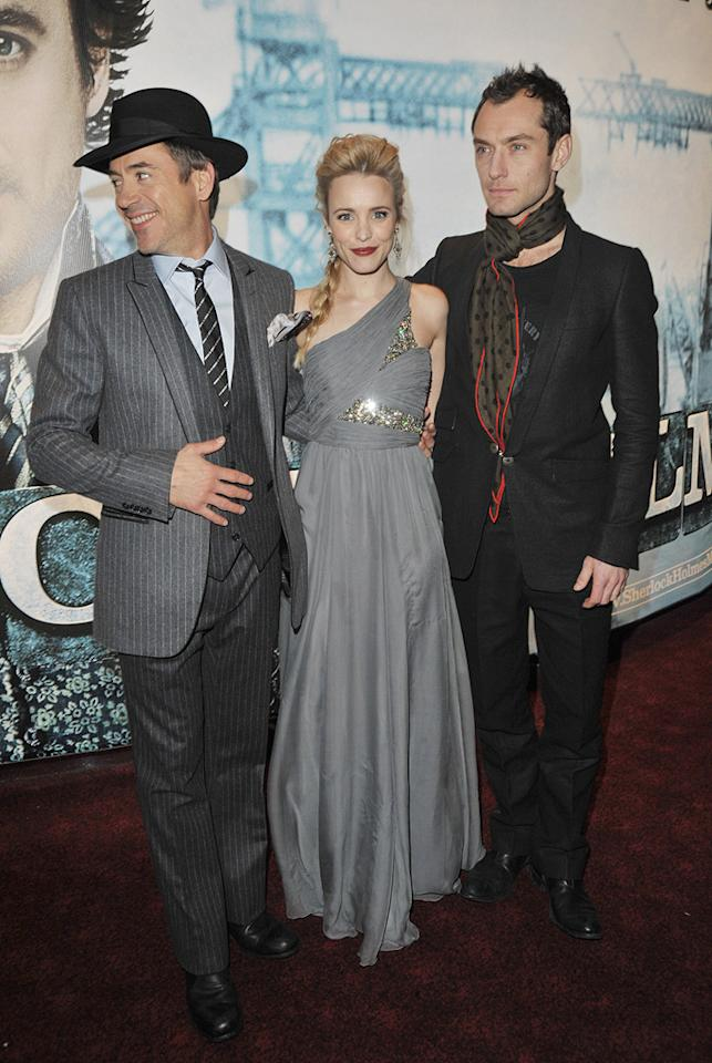 """<a href=""""http://movies.yahoo.com/movie/contributor/1800010914"""">Robert Downey Jr.</a>, <a href=""""http://movies.yahoo.com/movie/contributor/1807791956"""">Rachel McAdams</a> and <a href=""""http://movies.yahoo.com/movie/contributor/1800018936"""">Jude Law</a> at the London premiere of <a href=""""http://movies.yahoo.com/movie/1810045845/info"""">Sherlock Holmes</a> - 12/14/2009"""