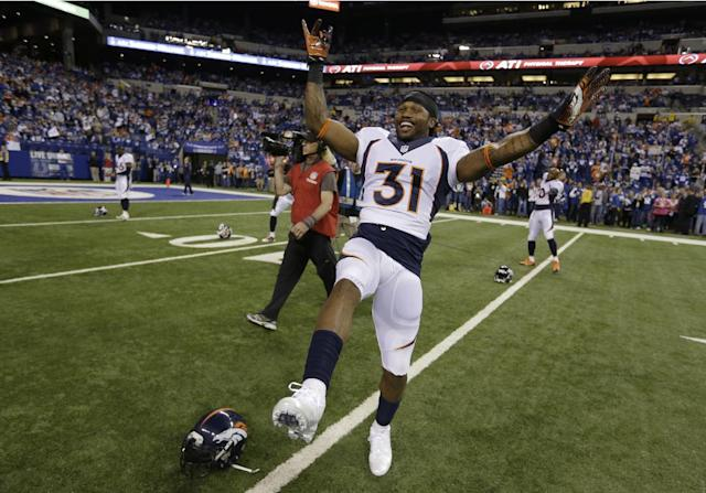 Denver Broncos' Omar Bolden (31) warms up before an NFL football game against the Indianapolis Colts, Sunday, Oct. 20, 2013, in Indianapolis. (AP Photo/Michael Conroy)