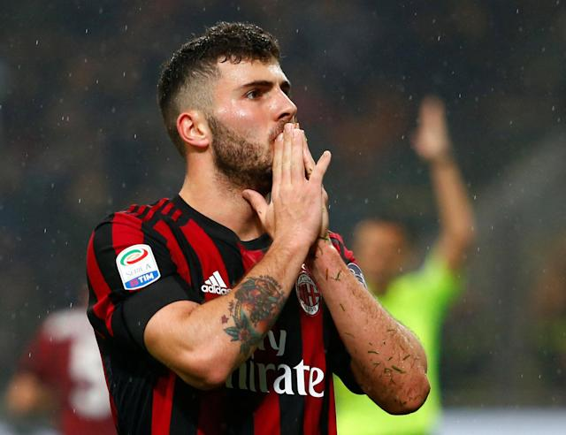 Soccer Football - Serie A - AC Milan v Inter Milan - San Siro, Milan, Italy - April 4, 2018 AC Milan's Patrick Cutrone reacts after his goal is disallowed due to offside REUTERS/Tony Gentile