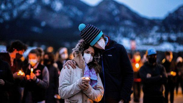 PHOTO: Hundreds gather at Fairview High School for a candlelight vigil to remember the victims of a mass shooting that left 10 dead at King Soopers grocery store in Boulder, Colo., March 25, 2021. (Alyson Mcclaran/Reuters)