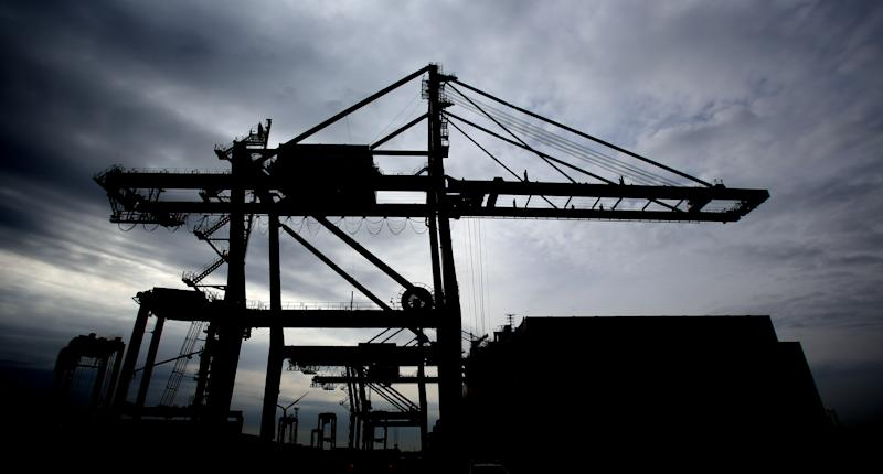 A crane along the quay side at Tilbury Docks in Essex. (Photo by Chris Radburn/PA Images via Getty Images)