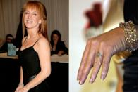 """<p>Instead of a sparkly, diamond ring, Kathy Griffin opted to have a more permanent band tattooed on her ring finger when she married Matt Moline. After their divorce in 2006, she had it lasered off. """"I have one tattoo on my whole body like an asshole and it's a fucking wedding ring and I'm divorced,"""" the comedian <span class=""""redactor-unlink"""">told <em><a href=""""http://www.windycitymediagroup.com/lgbt/Kathy-Griffin-On-her-new-show-and-Hollywood/37411.html"""" rel=""""nofollow noopener"""" target=""""_blank"""" data-ylk=""""slk:The Windy City Times"""" class=""""link rapid-noclick-resp"""">The Windy City Times</a></em></span>. </p>"""