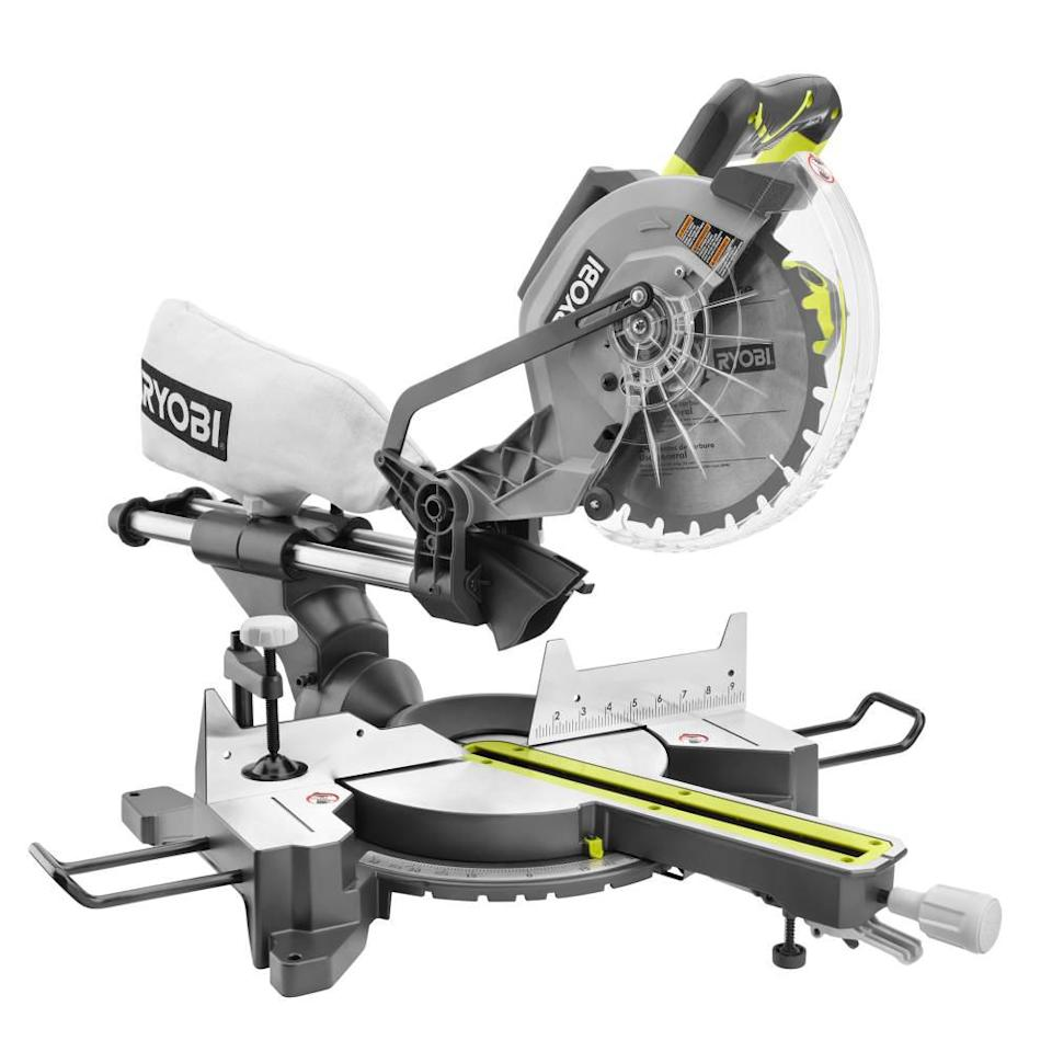"<p><strong>Ryobi</strong></p><p>homedepot.com</p><p><a rel=""nofollow"" href=""https://www.homedepot.com/p/RYOBI-15-Amp-10-in-Sliding-Miter-Saw-with-Laser-TSS102L/205216332"">Buy Now</a></p><p>Sale:<strong> $129</strong> (originally $219)</p><p>Ryobi's 15 amp miter saw will help you get a precise cut thanks to the adjustable laser. The set comes with a 10-in. blade, table extensions, work clamp, and a dust bag that was designed to fit most household vacuums for easy cleanup.</p><p>One happy user called it, ""a great saw for DIY projects,"" and noted that it cuts ""through everything from 4x4, 1x12 to 1x2's no problem.""</p><p>When you consider the 4.5 out of 5 star rating <em>and</em> the sale price, Ryobi's miter saw is a no-brainer. </p>"