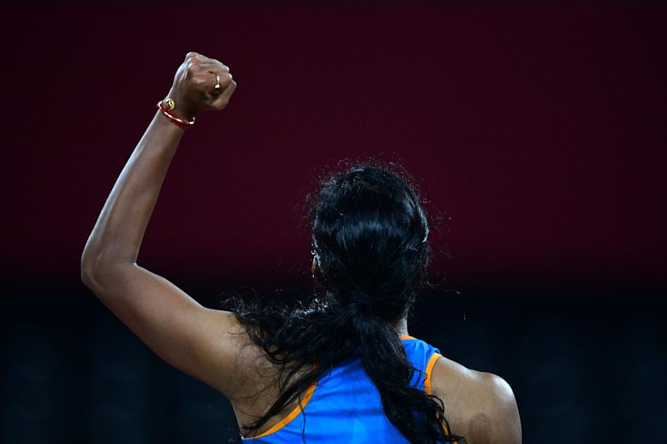 India's P. V. Sindhu reacts after a point against China's He Bingjiao in their women's singles badminton bronze medal match during the Tokyo 2020 Olympic Games at the Musashino Forest Sports Plaza in Tokyo on August 1, 2021. (Photo by Pedro PARDO / AFP) (Photo by PEDRO PARDO/AFP via Getty Images)