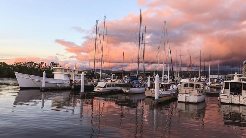 Launceston boats sunset shot in bay