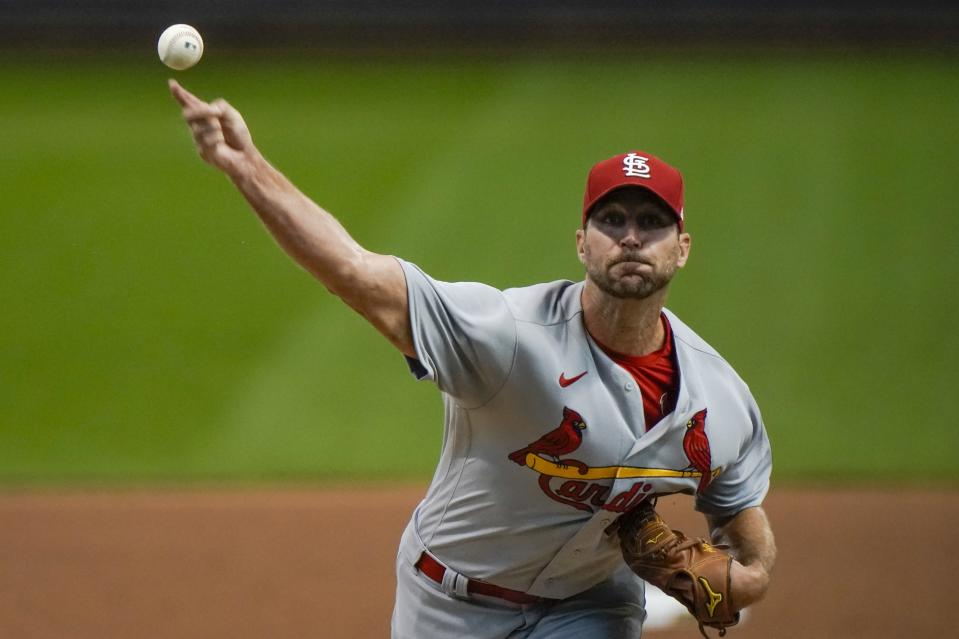 St. Louis Cardinals starting pitcher Adam Wainwright throwsduring the first inning of the first game of a baseball doubleheader against the Milwaukee Brewers Wednesday, Sept. 16, 2020, in Milwaukee. (AP Photo/Morry Gash)