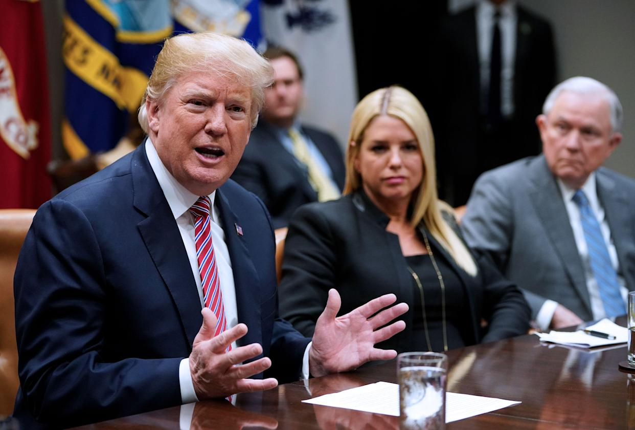 President Trump speaks during a meeting with state and local officials, including Florida Attorney General Pam Bondi, on school safety in February. (Photo: Mandel Ngan/AFP/Getty Images)
