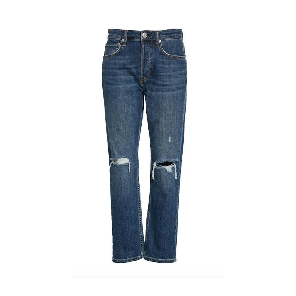 """<p><strong>RAG AND BONE</strong></p><p>nordstrom.com</p><p><strong>$135.00</strong></p><p><a href=""""https://go.redirectingat.com?id=74968X1596630&url=https%3A%2F%2Fwww.nordstrom.com%2Fs%2Frag-bone-maya-ripped-high-waist-ankle-slim-straight-leg-jeans-emory%2F5819537&sref=https%3A%2F%2Fwww.harpersbazaar.com%2Ffashion%2Ftrends%2Fg36558825%2Fnordstrom-half-yearly-sale-2021%2F"""" rel=""""nofollow noopener"""" target=""""_blank"""" data-ylk=""""slk:Shop Now"""" class=""""link rapid-noclick-resp"""">Shop Now</a></p><p><strong><del>$225</del> $135 (40% off)</strong></p>"""