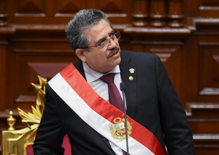 The speaker of the Peruvian Congress, Manuel Merino, gives a speech during his swearing-in ceremony as interim president in Lima on November 10, 2020 a day after the Congress voted to impeach and oust President Martin Vizcarra over corruption allegations Merino, 59, was sworn in at a special session of Congress on Tuesday, becoming Peru's third president since 2016, reflecting the institutional fragility which has characterized the South American country. Under the constitution, he will take over the presidential functions until the end of the current term in July 2021.