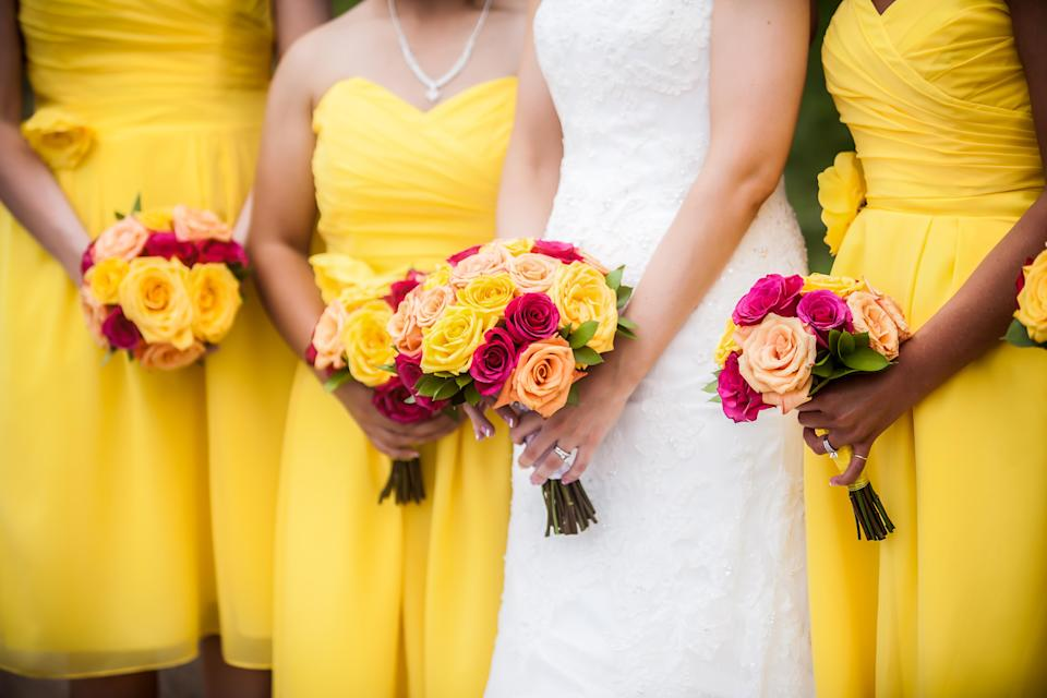 A bride was worried her bridesmaids' eye colours could clash with the dress. Photo: Getty