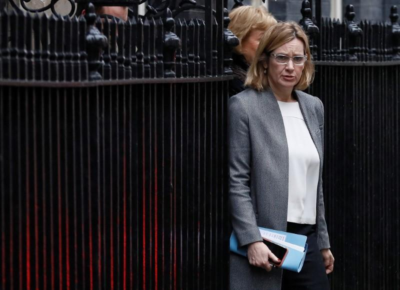 Britain's Home Secretary Amber Rudd leaves 10 Downing Street after a cabinet meeting ahead of the budget in London