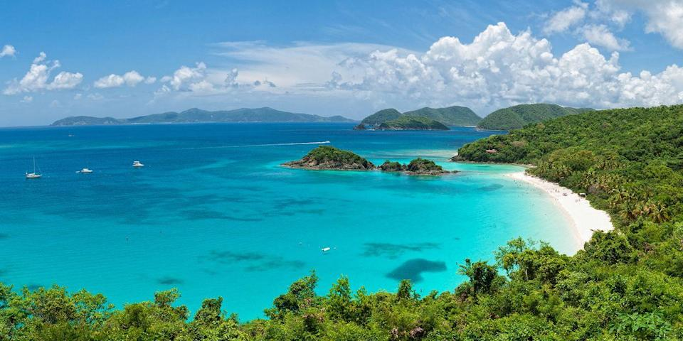 """<p>One of the U.S. Virgin Islands, along with St. Thomas and St. Croix, St. John steals the limelight from its siblings with its natural beauty — the majority of the island is a national park. There are scenic hiking trails on forested hills and beaches like <a href=""""https://www.tripadvisor.com/Attraction_Review-g147411-d147590-Reviews-Trunk_Bay-Virgin_Islands_National_Park_St_John_U_S_Virgin_Islands.html"""" rel=""""nofollow noopener"""" target=""""_blank"""" data-ylk=""""slk:Trunk Bay"""" class=""""link rapid-noclick-resp"""">Trunk Bay</a>, one of the Caribbean's <a href=""""https://www.bestproducts.com/lifestyle/g2209/best-beaches-for-vacations/"""" rel=""""nofollow noopener"""" target=""""_blank"""" data-ylk=""""slk:prettiest strands"""" class=""""link rapid-noclick-resp"""">prettiest strands</a>. The only town, Cruz Bay, has a handful of laid-back restaurants and bars.</p>"""