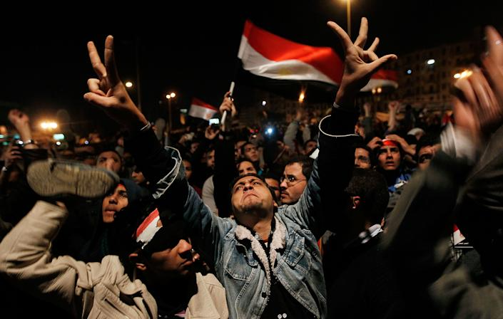 Anti-government protesters react after a speech by Egyptian President Hosni Mubarak in Tahrir Square February 10, 2011 in Cairo, Egypt.  (Chris Hondros/Getty Images)
