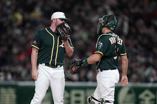 "<a class=""link rapid-noclick-resp"" href=""/mlb/teams/oakland/"" data-ylk=""slk:Oakland Athletics"">Oakland Athletics</a> pitcher <a class=""link rapid-noclick-resp"" href=""/mlb/players/9057/"" data-ylk=""slk:Liam Hendriks"">Liam Hendriks</a> thinks the 'Rooted in Oakland' campaign is hilarious based on his native Australian translation. (Getty Images)"