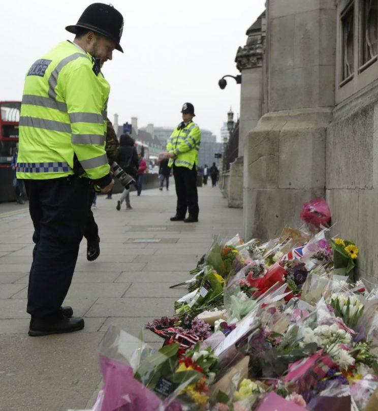Floral tributes in memory of the victims of Wednesday's attack outside the Houses of Parliament (REX/Shutterstock)