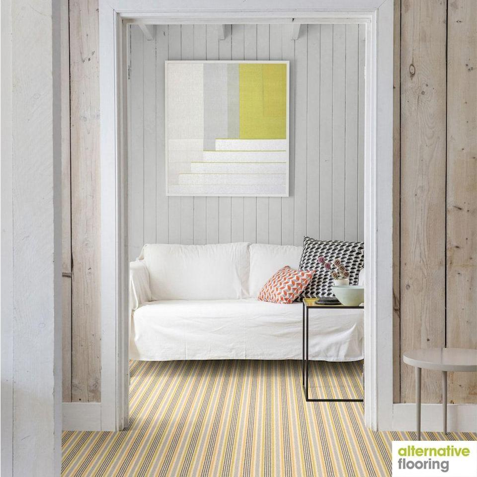 """<p>This pinstriped carpet would be at home in a beach house, paired as it is here with whitewashed wall cladding, and a light and airy colour palette. If you have hints of yellow in your patterned carpet, grab your colour wheel to make sure your surroundings will complement - neutrals, a burnt orange, or cooler tones such as a blue or green are safe choices. </p><p>Pictured: <a href=""""https://www.johnlewis.com/alternative-flooring-margo-selby-loop-carpet/sun-seasalter/p4183174"""" rel=""""nofollow noopener"""" target=""""_blank"""" data-ylk=""""slk:Alternative Flooring Margo Selby Loop Carpet at John Lewis"""" class=""""link rapid-noclick-resp"""">Alternative Flooring Margo Selby Loop Carpet at John Lewis</a></p>"""
