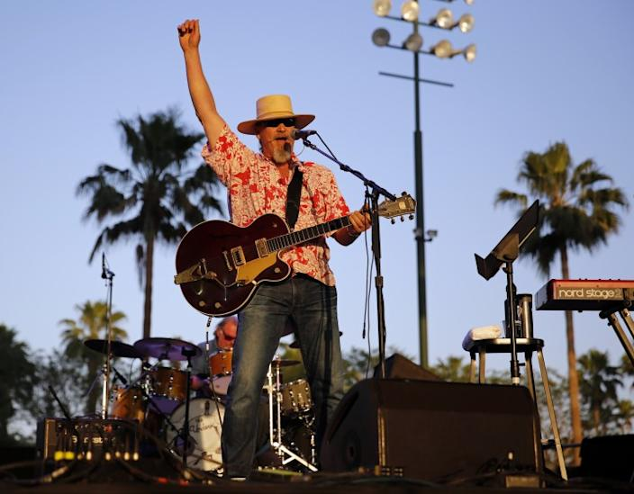 Jeff Bridges performs with his band the Abiders during the Stagecoach Festival at the Empire Polo Club in Indio on Saturday.