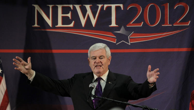 Republican presidential candidate, former House Speaker Newt Gingrich speaks during a campaign stop at a hotel Friday, Feb. 24, 2012, in Federal Way, Wash. (AP Photo/Elaine Thompson)