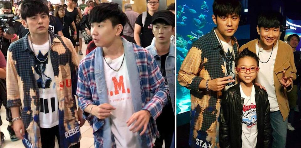 Jay Chou and JJ Lin spotted at Sim Lim Square (left) and at S.E.A. Aquarium (right). (PHOTOS: Lee Wei Soong/Facebook, Nhi Ngo/Instagram)