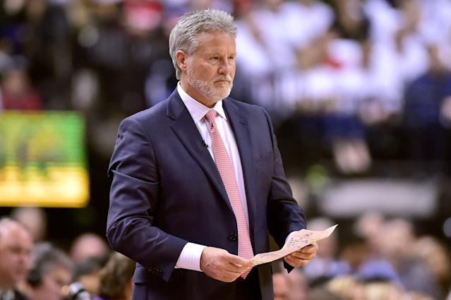 76ers head coach Brett Brown brought some challenges to Game 2 that the Raptors couldn't answer. (Frank Gunn/The Canadian Press via AP)