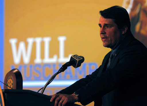 Florida Coach Will Muschamp speaks to media at SEC media days on Monday, July 14, 2014, in Hoover, Ala. (AP Photo/Butch Dill)