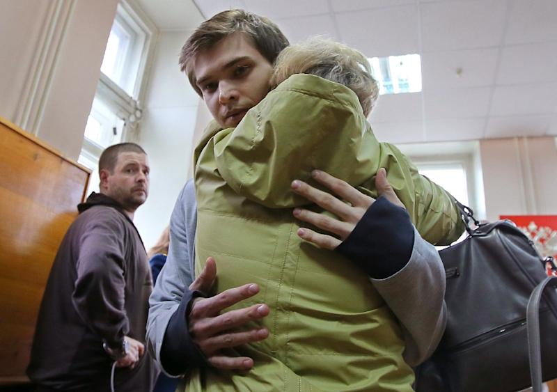 The decision to give Sokolovsky a suspended sentence and free him from house arrest was met with claps and sighs of relief in the courtroom (AFP Photo/Konstantin Melnitskiy)