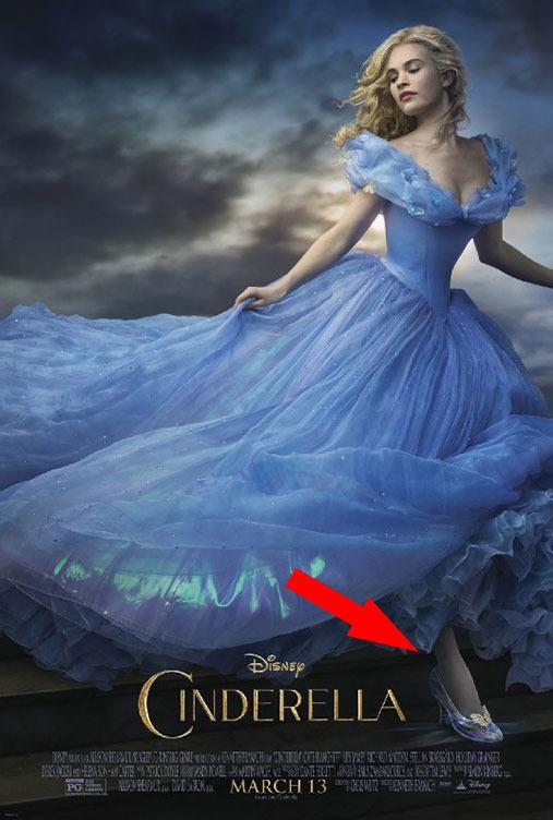 <p>It was much noted on its release how Kenneth Branagh's Cinderella (played by ,<i>Downton</i>'s Lily James) seemed impossibly thin around the waist. This poster accentuates it, but oddly, gives her a massive foot too.</p>