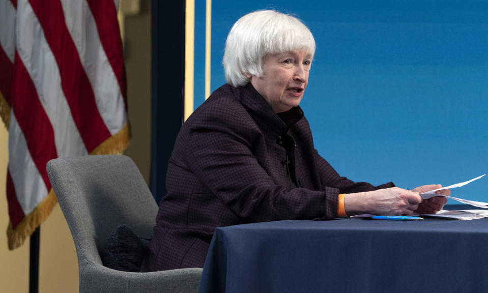 FILE - In this Feb. 5, 2021 file photo, Treasury Secretary Janet Yellen speaks during a virtual roundtable with participants from Black Chambers of Commerce across the country to discuss the American Rescue Plan in Washington. Yellen and Federal Reserve Chairman Jerome Powell say more needs to be done to limit the damage from the coronavirus pandemic and promote a full economic recovery. The two officials struck upbeat notes on the future of the economy in their prepared testimony Tuesday, March 23, before the House Financial Services Committee while cautioning that the economy still needs help. (AP Photo/Jacquelyn Martin, File)