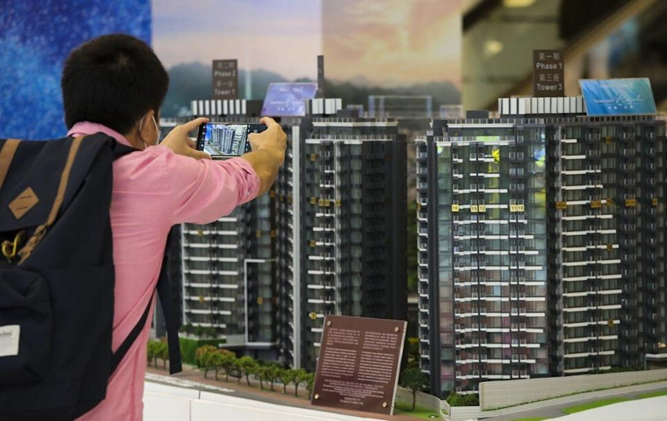 Property buyers viewing the Starfront Royale project in Tuen Mun, at the Tsim Sha Tsui sales office of Hong Kong Ferry and Empire Group on November 1, 2020.